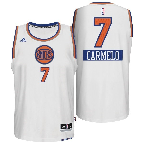 Choisir Maillot NBA New York Knicks 2014 Noël NO.7 Carmelo Blanc