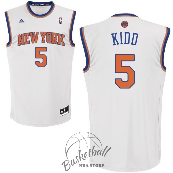 Choisir Maillot NBA New York Knicks NO.5 Jason Kidd Blanc