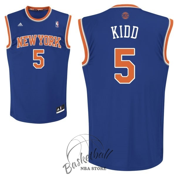 Choisir Maillot NBA New York Knicks NO.5 Jason Kidd Bleu