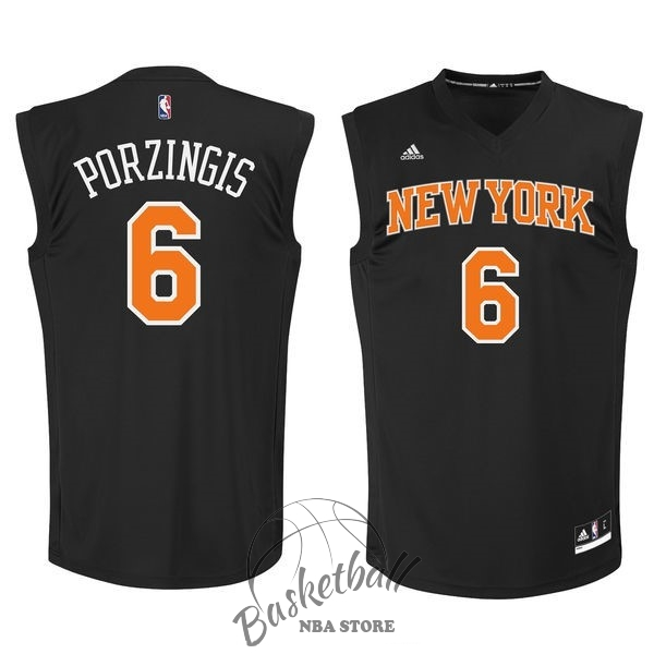 Choisir Maillot NBA New York Knicks NO.6 Kristaps Porzingis Noir
