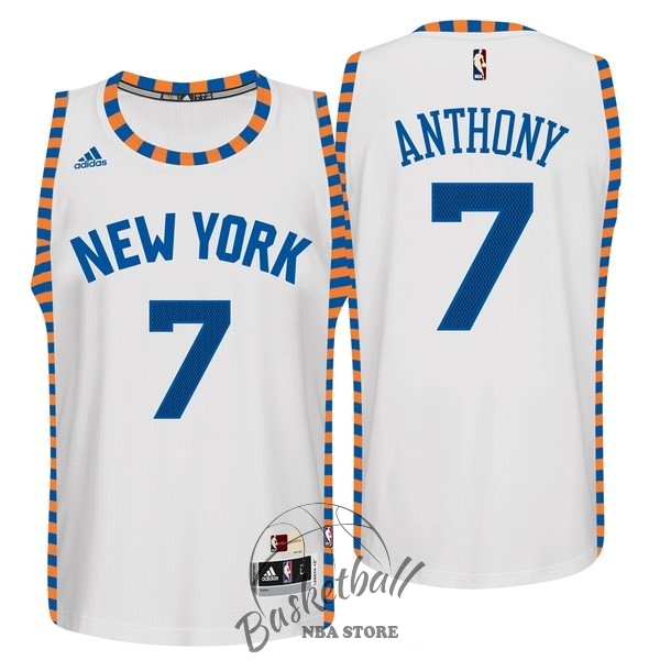 Choisir Maillot NBA New York Knicks NO.7 Carmelo Anthony Blanc Encaje