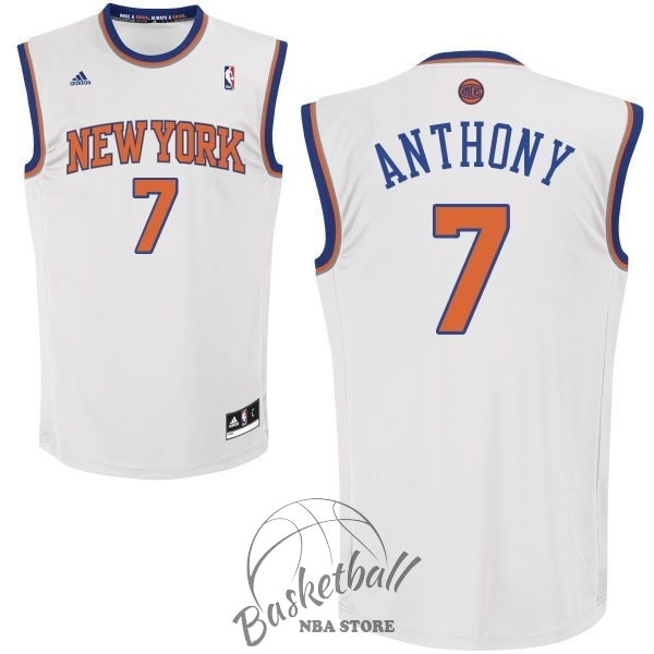 Choisir Maillot NBA New York Knicks NO.7 Carmelo Anthony Blanc