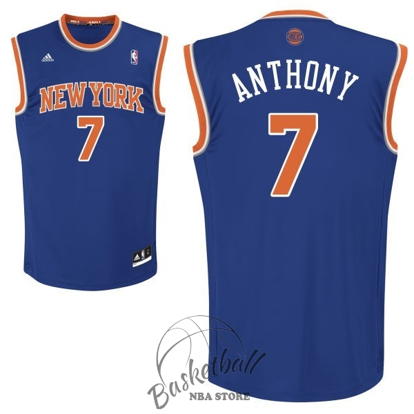 Choisir Maillot NBA New York Knicks NO.7 Carmelo Anthony Bleu