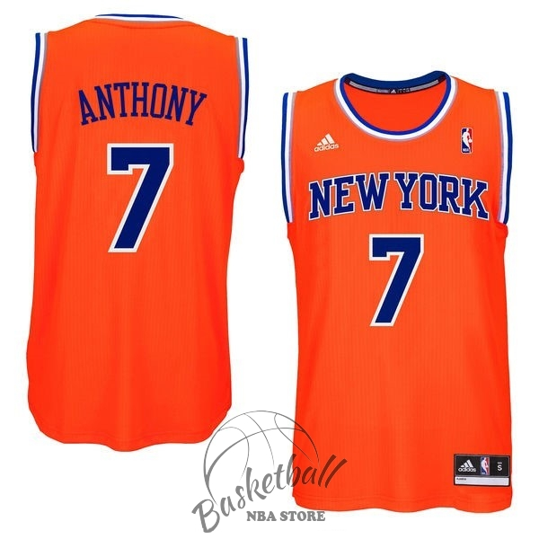 Choisir Maillot NBA New York Knicks NO.7 Carmelo Anthony Orange Bleu