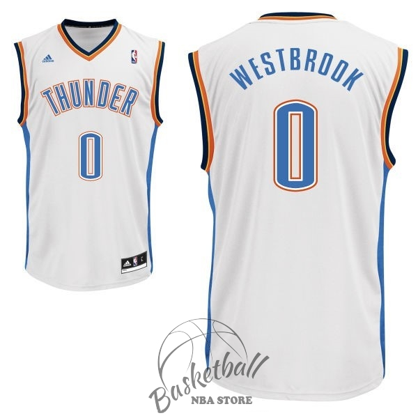 Choisir Maillot NBA Oklahoma City Thunder NO.0 Russell Westbrook Blanc