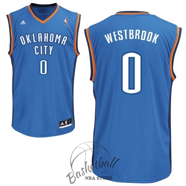 Choisir Maillot NBA Oklahoma City Thunder NO.0 Russell Westbrook Bleu