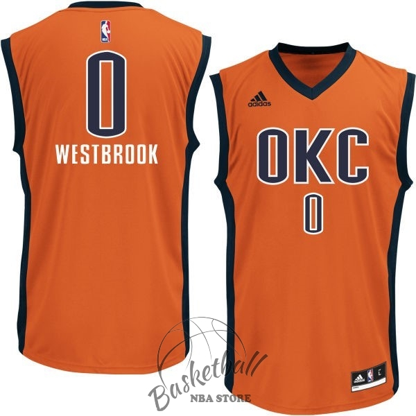 Choisir Maillot NBA Oklahoma City Thunder NO.0 Russell Westbrook Orange