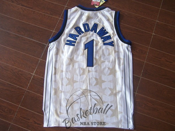 Choisir Maillot NBA Orlando Magic NO.1 Anfernee Hardaway Blanc Sombre