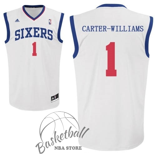 Choisir Maillot NBA Philadelphia Sixers NO.1 Michael Carter Williams Blanc