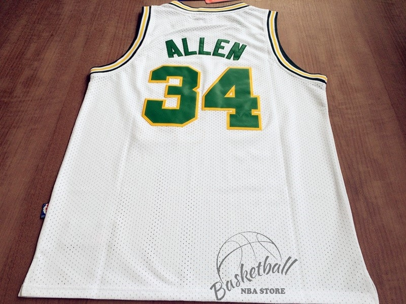 Choisir Maillot NBA Seattle Supersonics NO.34 Ray Allen Retro Blanc