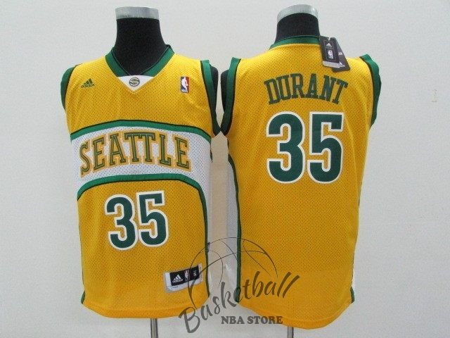 Choisir Maillot NBA Seattle Supersonics NO.35 Kevin Durant Jaune