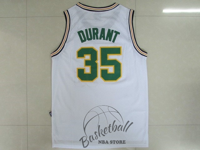 Choisir Maillot NBA Seattle Supersonics NO.35 Kevin Durant Retro Blanc