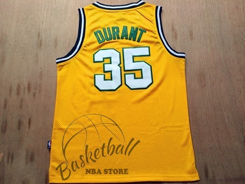 Choisir Maillot NBA Seattle Supersonics NO.35 Kevin Durant Retro Jaune