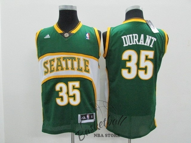 Choisir Maillot NBA Seattle Supersonics NO.35 Kevin Durant Vert