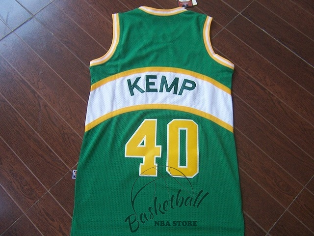 Choisir Maillot NBA Seattle Supersonics NO.40 Shawn Kemp Vert