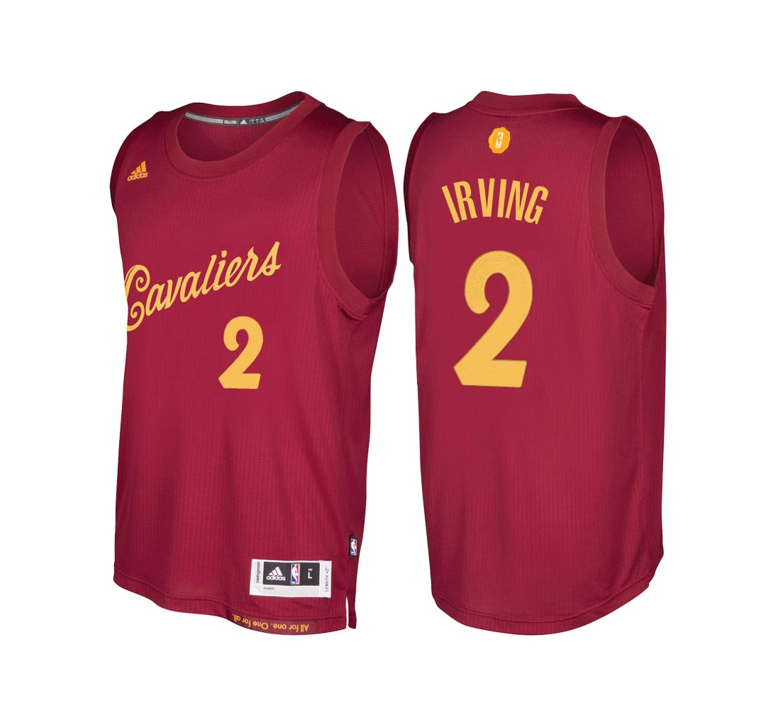 Choisir Maillot NBA Cleveland Cavaliers 2016 Noël NO.2 Kyrie Irving Rouge