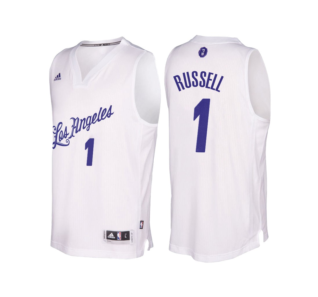 Choisir Maillot NBA Los Angeles Lakers 2016 Noël NO.1 D'Angelo Russell Blanc