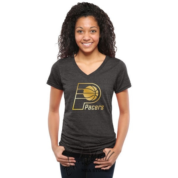 Choisir T-Shirt Femme Indiana Pacers Noir Or